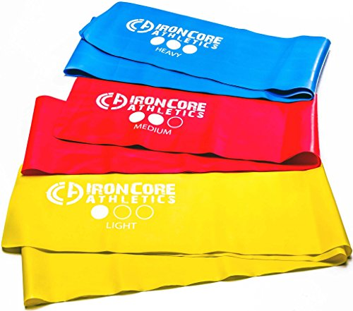 Iron Core Athletics Flat Stretch Exercise Bands : Set of Three 5ft Flat Fitness Bands, Perfect for Yoga / Pilates / Physical Therapy