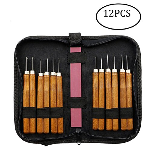 Samhe Wood Carving Knife Hand Chisels Tools Kit for Carpenters with Whetstone professional pack (12pcs) ()