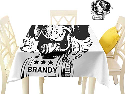 W Machine Sky Restaurant Tablecloth Man Cave Decor Sketch of Saint Bernard Rolling a Keg of Brandy Whiskey Stars Retro W70 xL70 Suitable for Buffet Table, Parties, ()