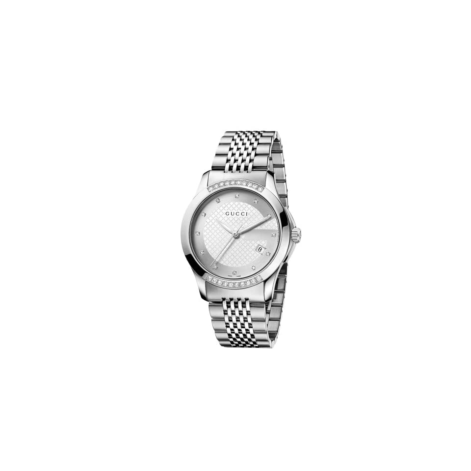 9b8ff790a8a Gucci Mens YA126407 G Timeless Medium Diamond Silver Dial Steel Watch