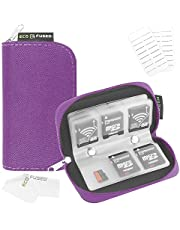 Eco-Fused Memory Card Carrying Case - Suitable for SDHC and SD Cards - 8 Pages and 22 Slots - Eco-Fused Microfiber Cleaning Cloth Included (Purple, (S) 22 Slots)