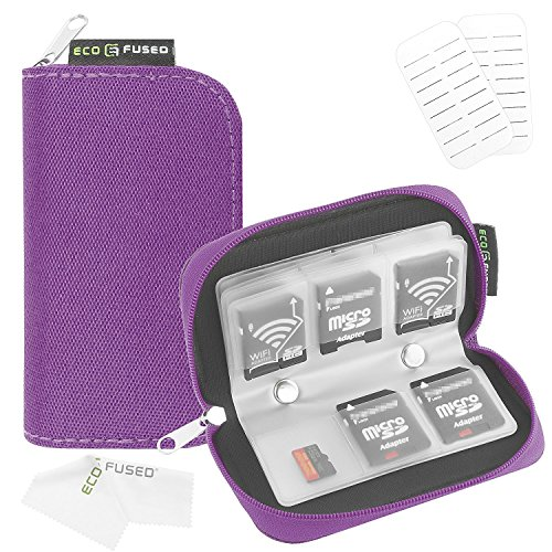 ECO-FUSED Memory Card Case - Fits up to 22x SD, SDHC, Micro SD, Mini SD and 4X CF - Holder with 22 Slots (8 Pages) - for Storage and Travel (Purple) from ECO-FUSED