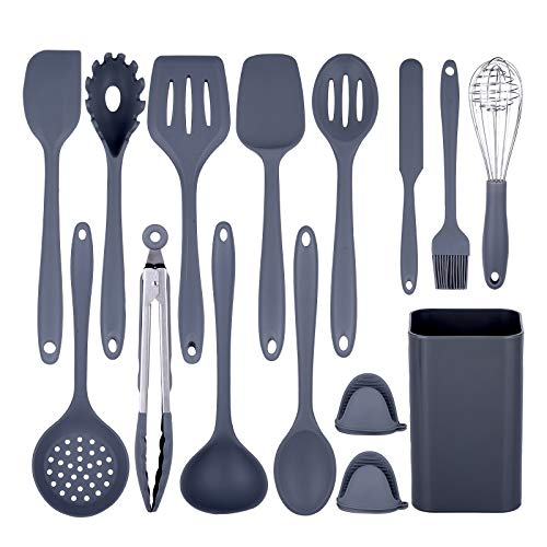 Kitchen Utensils Set,15 Silicone Cooking Utensils Set with Holder,Kitchen Gadgets Set Kitchen Tools