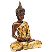 Oriental Furniture Elegant Beautiful Fine Quality Buddhist Art, 16-Inch Large Sitting Golden Thai Buddha Statue Figure with Antiqued Robe