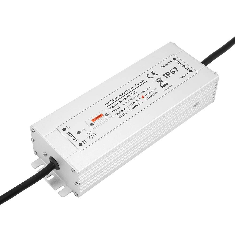 12V 20.8A HRW-12V250W 12V//24V 250W LED Impermeable Controlador Transformador Fuente de Alimentaci/ón Fuente de Alimentaci/ón de Luz de Tira IP67
