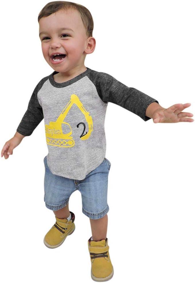 Toddler Baby Girls Cartoon Printed T Shirt Tops Kids Jeans Pants Outfits Set