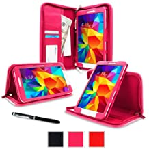 "rooCASE Samsung Galaxy Tab 4 8.0 Case - Executive Portfolio Leather 8.0-Inch 8.0"" Cover with Landscape, Portrait, Typing Stand, Hand Strap - Magenta (With Auto Wake/Sleep Cover)"