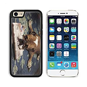 Pug Dog Pets Puppy Newspaper Funny Apple iPhone 6 TPU Snap Cover Premium Aluminium Design Back Plate Case Customized Made to Order Support Ready Liil iPhone_6 Professional Case Touch Accessories Graphic Covers Designed Model Sleeve HD Template Wallpaper P