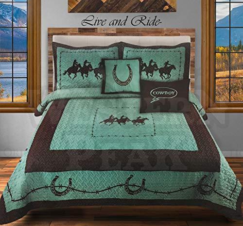 (Western Peak 5 Pc Western Texas Cross Lodge Barbed Wire Quilt Bedspread Shams Pillow Oversize Comforter (Turquoise Horse, Queen))