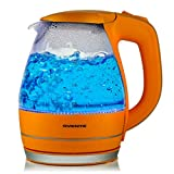 Ovente 1.5L BPA-Free Glass Electric Kettle, Fast Heating with Auto Shut-Off and Boil-Dry Protection, Cordless, LED Light Indicator, Orange (KG83O)