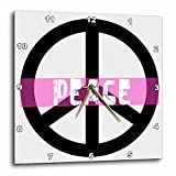 3dRose dpp_40218_1 Pink Peace Sign Inspirational Art Wall Clock, 10 by 10-Inch For Sale