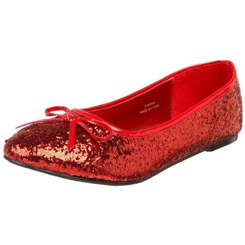 [Funtasma by Pleaser Women's Star-16G Flat,Red Glitter,5 M US] (The Red Shoes Halloween Costume)