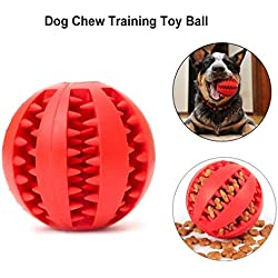 MakerHawk Dog Chew Training Toy Balls Tooth Cleaning Ball Dental Treat Bite Resistant Dog Toy Balls for Pet Training Playing Chewing, Nontoxic Soft Rubber Red