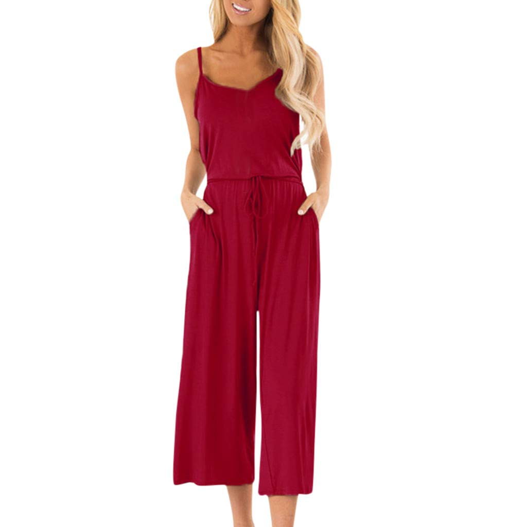 iYYVV Womens Casual Sleeveless Sling High Waisted Wide Leg Playsuits Beach Jumpsuit