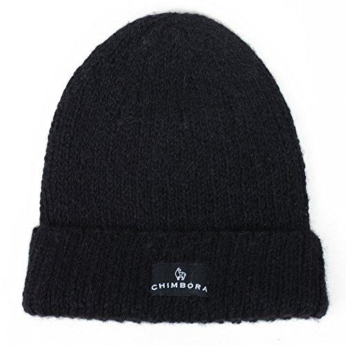 Alpaca Beanie Hat - Chimbora Winter Hats & Knit Caps: Handmade Alpaca Hats, Classical Watch Hat Style, Warmest Winter Hat for Men and Women - Great for Outdoor Activities and Skiing (Black)