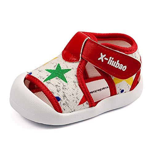 QGAKAGO Toddler Baby Boys or Girls Breathable Mesh Running Sneakers Summer Sandals (6 M US Toddler, Red-2)
