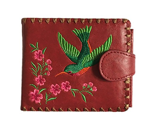 Hummingbird & Flower Embroidered Vegan Leather Medium Wallet (Embroidered Flower Fashion)