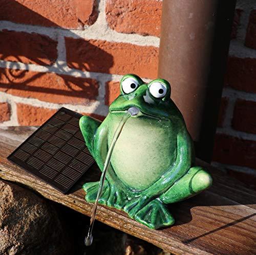 Solarpumpe Gartenzaubereien Wasserspeier Frosch dunkelgr/ün Keramik