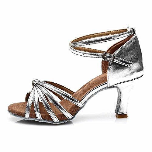 Silver De Tango 7cm 5cm Yff Latino Mujer ballroom 11corlors 7cm Heels Zapatos Baile 6xT7w