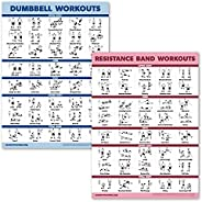 2 Pack Dumbbell Workouts and Resistance Bands Exercise Poster Set - Laminated 2 Chart Set - Dumbbell Exercise