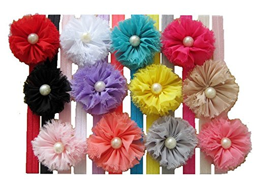 Qandsweet Baby Girl's Hairbands Hair Bow (12 Pack Shabby Flower)