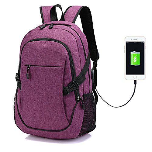 Men Women Laptop Backpack Travel Backpack Water Resistant 2 Way Zipper College Backpack with USB Port Fits 15.6 inch Laptop