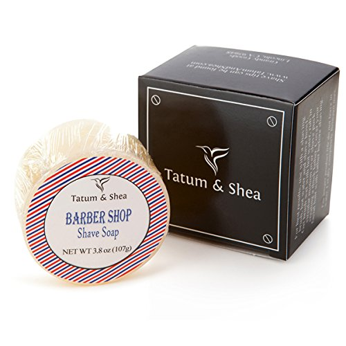 Vintage Shaving Soap: Ultra Rich Men's Shave Soap with Shea Butter, Handmade in USA in Small Batches, Light Barber Shop Scent, 3.8 Oz, Gift Boxed by Tatum & Shea (Barber Shop) ()