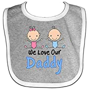 Inktastic - Boy Girl Twins Love Daddy Baby Bib Heather/White