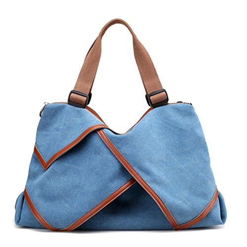UGOOO bolso retro medieval / totalizador de la lona del estilo del estilo Azul