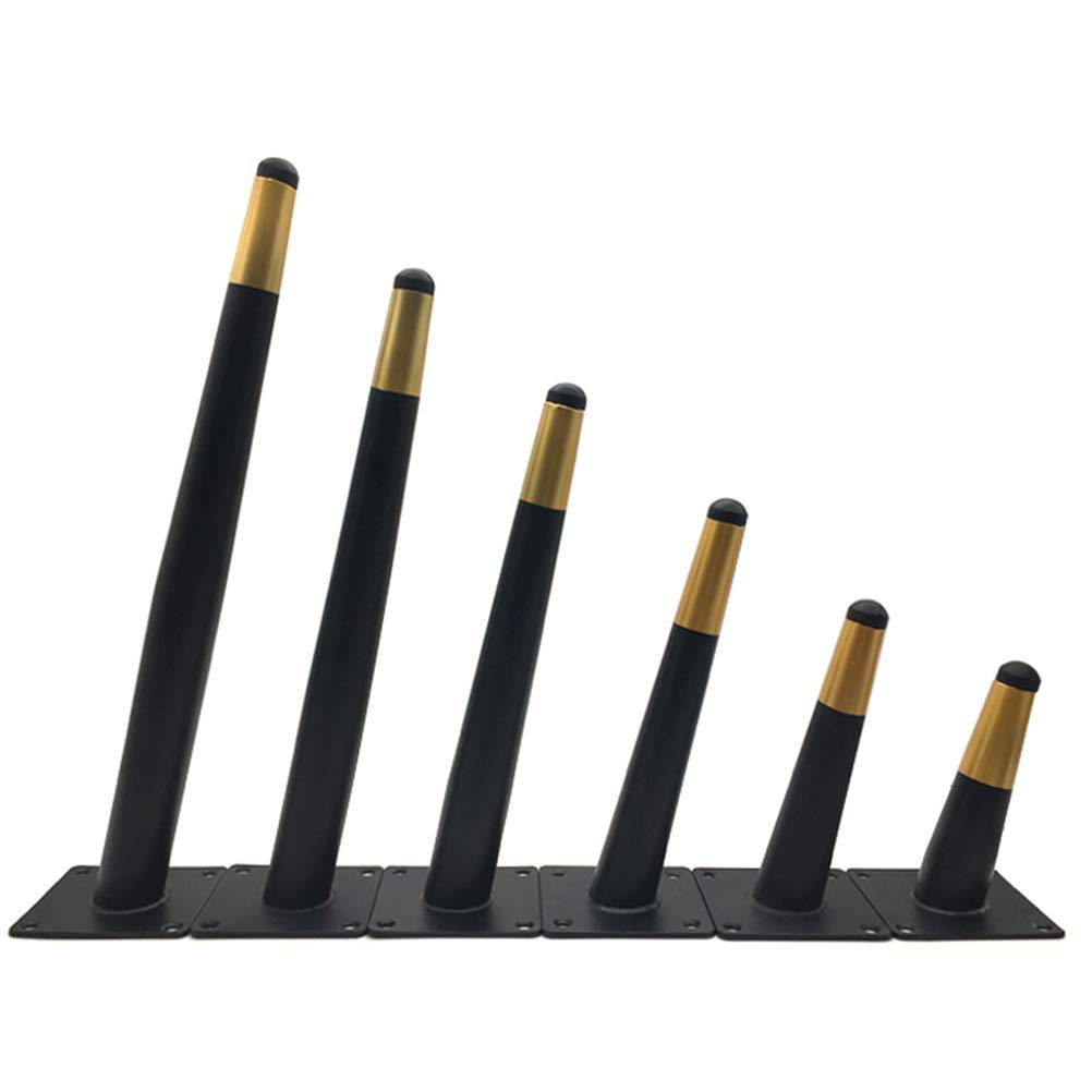 Juego de 4 en Negro y Dorado tocador Patas de Muebles inclinadas de Metal c/ónico Patas de Soporte para gabinetes de ba/ño con Protectores de Piso adecuados para sof/á Mesa de Centro ABBD-6inch