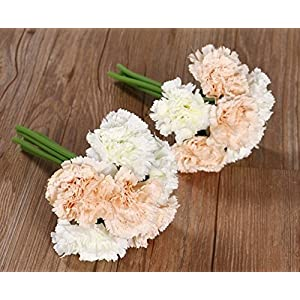 Nument(TM Silk Artificial Carnation Flowers Real Touch Flowers 2 Bouquets for Wedding Bridal Bridesmaid Home Decoration (White+Champagne)