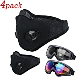 Activated Carbon Dustproof Mask 4Pack – Include 2 Pack Safety Glasses, Filtration Exhaust Gas Anti Pollen Allergy PM2.5 Dust Mask Air Filter for Running Cycling Diy Outdoor Activities (black-4 pack)
