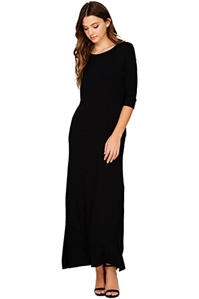 32a8f3716e Annabelle Women's Casual Scoop Neck Split Maxi Dress with Pockets Small  Black D5296 at Amazon Women's Clothing store:
