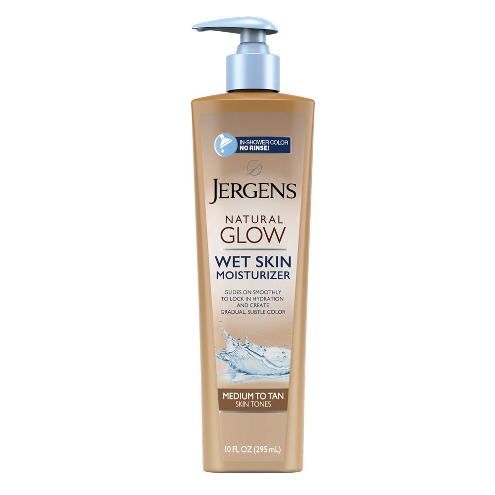 Jergens Natural Glow In-shower Moisturizer, Medium to Tan Skin Tone, 10 Ounce Wet Skin Lotion, Locks in Hydration with Gradual, Flawless Color by Jergens