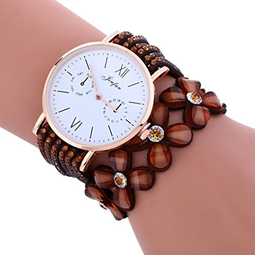 (Hunputa Fashion Large Dial Diamond Leather Bracelet Lady Womans Wrist Watch Gift (Brown))