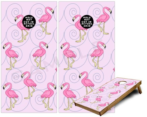 Cornhole Bag Toss Game Board Vinyl Wrap Skin Kit - Flamingos on Pink (fits 24x48 game boards - Gameboards NOT INCLUDED)