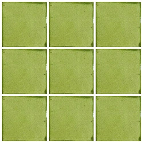 Ceramic Talavera Mexican Tile 4x4'', 9 Pieces (NOT Stickers) A1 Export Quality! - Lime Brush by DRT TALAVERA
