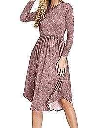 Women Long Sleeve Pleated Polka Dot Pocket Swing Casual...