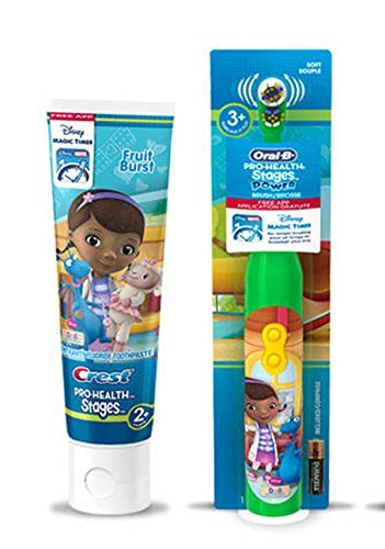 Ready...Set...Brush! Disney Jr. Doc McStuffins Turbo Power Spin toothbrush Plus Bonus Fruit Blast Anticavity Fluoride Toothpaste, 4.2 oz! Plus Power Brush