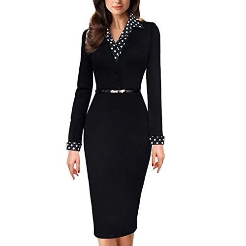Women's Vintage Polka Dot Collared Business Work Party Bodycon Pencil Dress