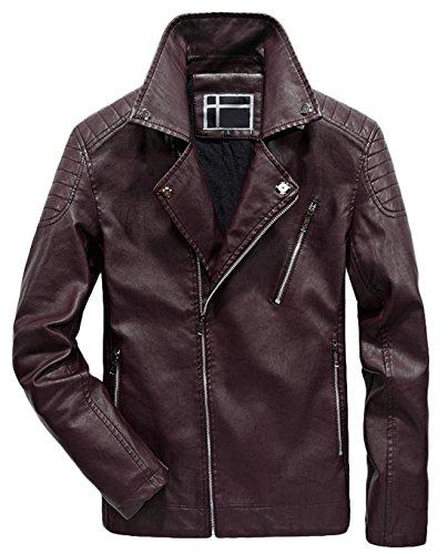 Zip Red Quilted Men's Biker Vintage Chouyatou Pu Leather Dark Moto Asymmetrical Jacket SwTO4tnF