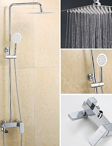JingJingnet 現代的な壁に取り付けられたレインシャワー付きセラミックバルブシングルハンドルワンホールクローム、シャワーの蛇口/バスルームのシンクの蛇口 (Color : Silvery) B07R8K9DMD Silvery