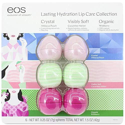 EOS Evolution of Smooth Lip Balm ~ Lasting Hydration Lip Care Collection 6-Pack ~ 2 Hibiscus Peach