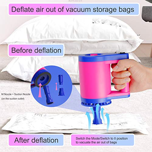 Pumteck 2 in 1 Electric Balloon Pump and Air pump for Inflatables,Air Mattress Pump,Quick-Fill Electric Inflator with 5 Nozzle for Inflating/Deflating Air Mattress/Raft/Bed/Boat/Pool Toy/Yoga Ball