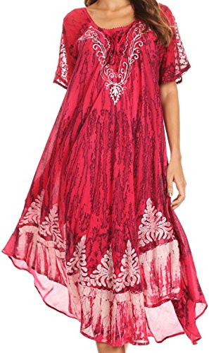 Sakkas 16601 - Ronny Lace Embroidered Cap Sleeve Tie Dye Wash Caftan Dress/Cover Up - Fuchsia/Navy - OS