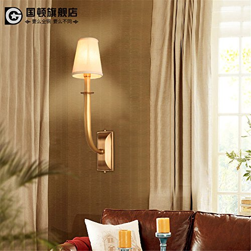 DengWu Wall Sconce American-Style Living Room Wall Lamps Retro-Continental Copper Antlers Head Lamps Bedroom led to The Hallway Modern Minimalist (22X55cm) Nordic