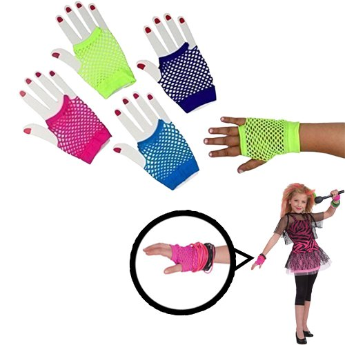 [Dazzling Toys Assorted Fingerless Diva Fishnet Wrist Gloves - Short. Pack of 6] (Neon Party Outfits)