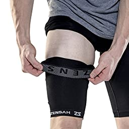 Zensah Thigh Compression Sleeve - Treat Hamstring and Quad Injuries - Hamstring Compression Sleeve - Running Compression Thigh Sleeve - Perfect for Running, Tennis, Working Out, Basketball - Reduce Cramping,Small/Medium