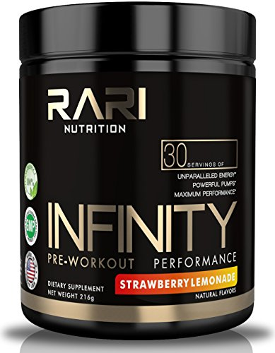 RARI Nutrition - INFINITY - 100% Natural Pre Workout Powder for Energy, Focus, and Performance - Men and Women - Vegan and Keto Friendly - No Creatine - 30 Servings (Strawberry Lemonade)