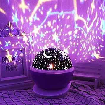 Lámpara de noche con proyector de estrellas, rotación de 360 ...